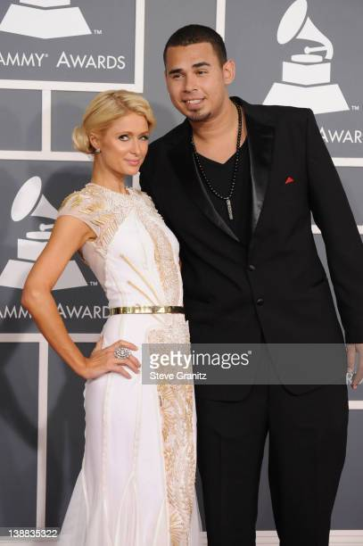 TV personality Paris Hilton and Afrojack arrives at The 54th Annual GRAMMY Awards at Staples Center on February 12 2012 in Los Angeles California