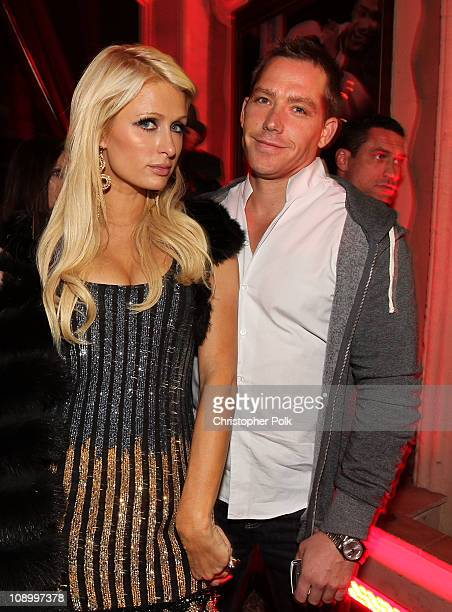 TV personality Paris Hilton and Cy Waits attend the RED launches with Usher on February 10 2011 in Hollywood California