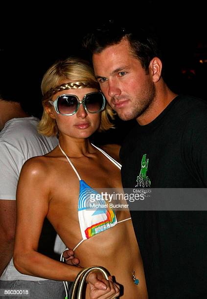 TV personality Paris Hilton and Doug Reinhardt pose during day 1 of the Coachella Valley Music Arts Festival held at the Empire Polo Club on April 18...