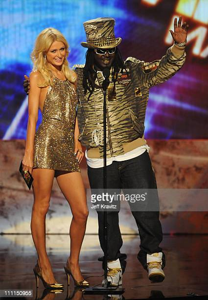Personality Paris Hilton and T-Pain during the 2008 American Music Awards held at Nokia Theatre L.A. LIVE on November 23, 2008 in Los Angeles,...