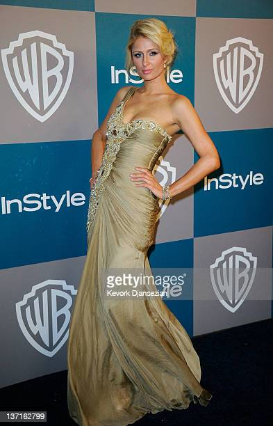 TV personality Paris Hilton arrives at 13th Annual Warner Bros and InStyle Golden Globe Awards After Party at The Beverly Hilton hotel on January 15...