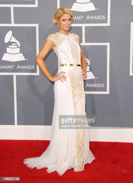 TV personality Paris Hilton arrives at the 54th Annual GRAMMY Awards held at Staples Center on February 12 2012 in Los Angeles California