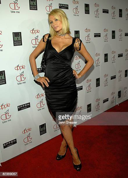 TV personality Paris Hilton arrives at the Apple Lounge grand opening at Apple Lounge on August 14 2008 in West Hollywood California