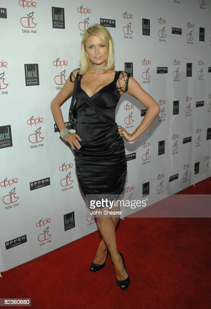TV personality Paris Hilton arrives to the Apple Lounge grand opening at Apple Lounge on August 14 2008 in West Hollywood California