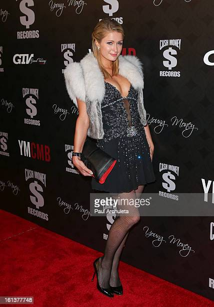 Personality Paris Hilton attends the Cash Money Records 4th annual PreGRAMMY Awards party on February 9 2013 in West Hollywood California