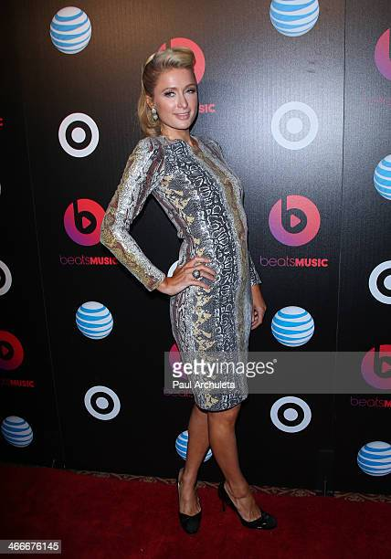 Personality Paris Hilton attends the official launch party for Beats Music from Beats By Dr Dre at Belasco Theatre on January 24 2014 in Los Angeles...