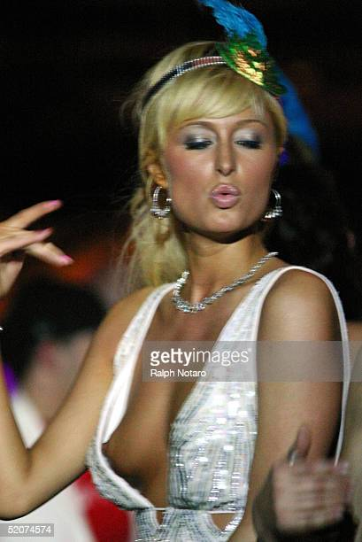 TV personality Paris Hilton dances during the New Years Eve Party at the Shelborne Hotel on January 1 2005 in South Beach Miami Florida