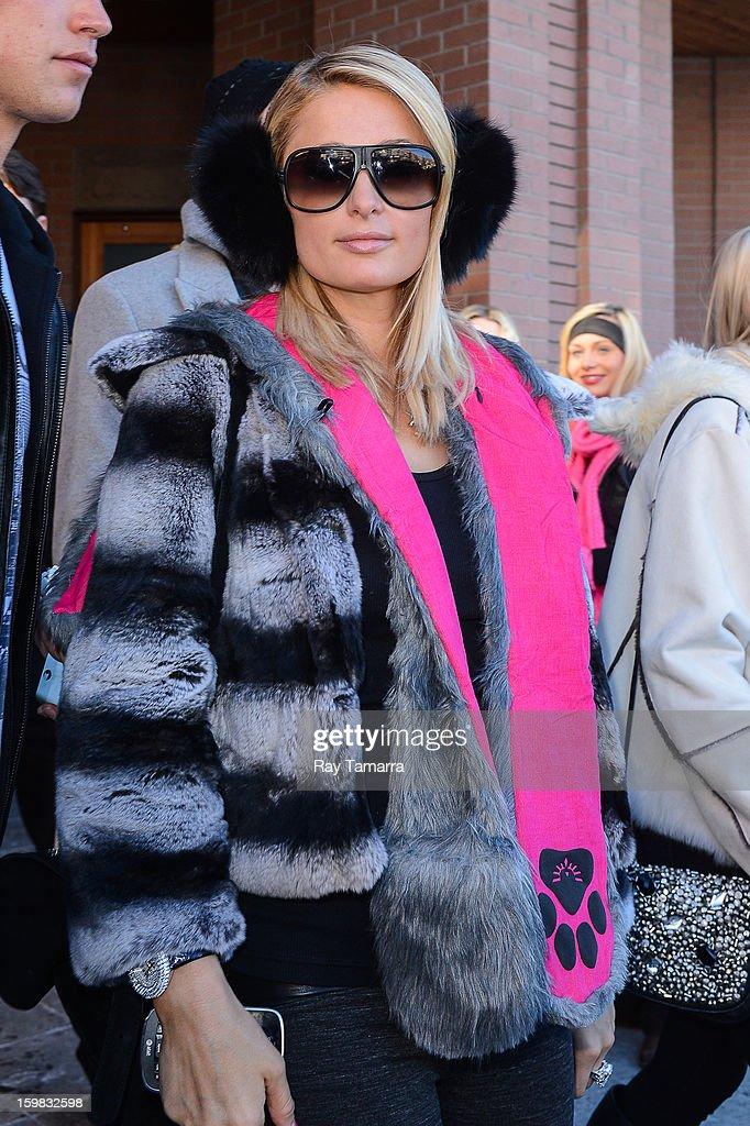 TV personality Paris Hilton walks in Park City on January 20, 2013 in Park City, Utah.