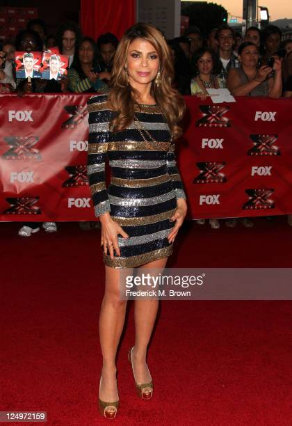TV personality Paula Abdul arrives at the premiere Of Fox's The X Factor held at ArcLight Cinemas Cinerama Dome on September 14 2011 in Hollywood...