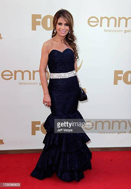 TV personality Paula Abdul arrives to the 63rd Primetime Emmy Awards at the Nokia Theatre LA Live on September 18 2011 in Los Angeles United States