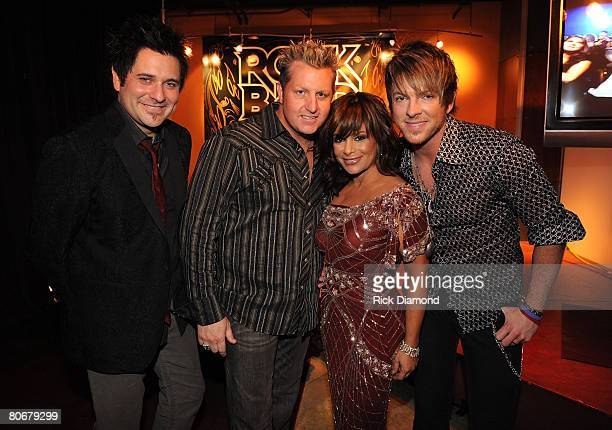 NASHVILLE TN APRIL 14 TV personality Paula Abdul with musicians Jay DeMarcus Gary LeVox and Joe Don Rooney of Rascal Flatts seen backstage during the...