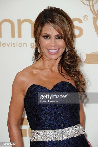 TV personality Paula Adbul arrives at the 63rd Annual Primetime Emmy Awards held at Nokia Theatre LA LIVE on September 18 2011 in Los Angeles...