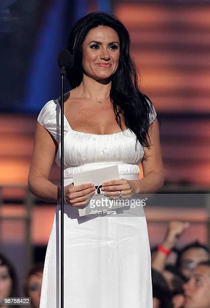 TV personality Penelope Menchaca speaks onstage at the 2010 Billboard Latin Music Awards at Coliseo de Puerto Rico José Miguel Agrelot on April 29...
