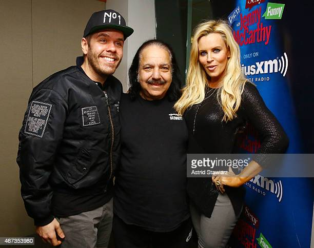 TV personality Perez Hilton and adult film star Ron Jeremy pose with SiriusXM host Jenny McCarthy during a visit to 'Dirty Sexy Funny with Jenny...