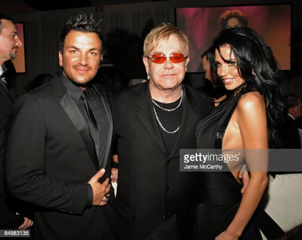 Personality Peter Andre and Host Sir Elton John and Katie Price attend the 17th Annual Elton John AIDS Foundation Oscar party held at the Pacific...