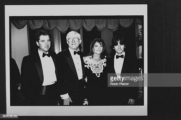 TV personality Phil Donahue w son Michael daughter Mary Rose and son Jim at celebration of the 25th anniv of the Donahue TV show at the Ed Sullivan...