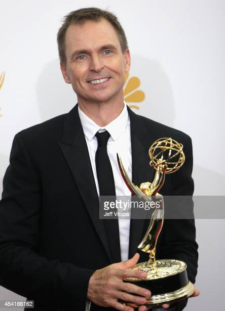 TV personality Phil Keoghan poses in the press room during the 66th Annual Primetime Emmy Awards at Nokia Theatre LA Live on August 25 2014 in Los...