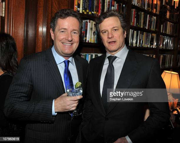 """Personality Piers Morgan and actor Colin Firth attend the luncheon to honor The Weinstein Company's """"The King's Speech"""" at a Private Club on January..."""
