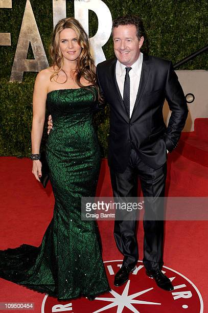 Personality Piers Morgan and Celia Walden arrive at the Vanity Fair Oscar party hosted by Graydon Carter held at Sunset Tower on February 27, 2011 in...