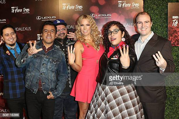 TV personality Pili Montilla and members of the band 'La Santa Cecilia' attend 'Te Para Tres con Pili Montilla' at Lure on February 2 2016 in Los...