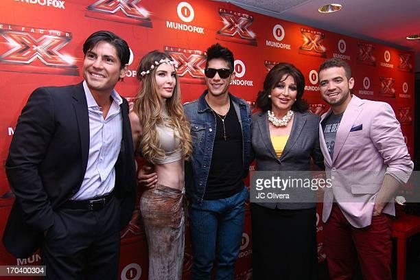 TV Personality Poncho De Anda singer Belinda singer Chino actress Angelica Maria and singer Nacho from duo Chino y Nacho attend MundoFOX El Factor X...