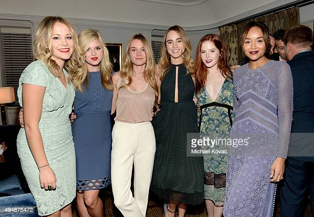 TV personality Poppy Jamie actress Ana MulvoyTen models Immy Waterhouse Suki Waterhouse actresses Ellie Bamber and Ashley Madekwe attend James Corden...