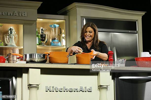Personality Rachael Ray conducts a presentation at KitchenAid stage at the Grand Tasting presented by ShopRite featuring KitchenAid® culinary...