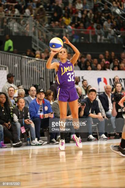 Personality Rachel Demita shoots during the 2018 NBA AllStar Game Celebrity Game as part of 2018 NBA AllStar Weekend on February 16 2018 at Verizon...