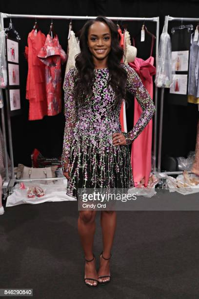 Personality Rachel Lindsay poses for a photo backstage at the Badgley Mischka fashion show during September 2017 - New York Fashion Week: The Shows...