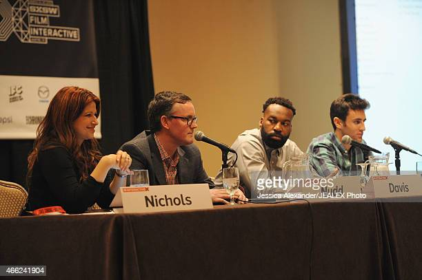 TV personality Rachel Nichols journalist Tim Nudd Professional basketball player Baron Davis and comedy writer Alex Richanbach speak onstage at 'Now...