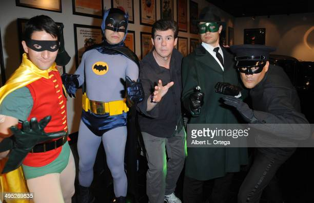 Personality Ralph Garman with Batman and Robin and The Green Hornet and Kato at the 'Batman 66 Meets The Green Hornet' Comic Book Kickoff Fatman On...