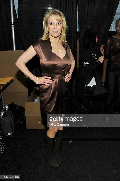 Personality Ramona Singer poses backstage at the Dennis Basso Fall 2011 fashion show during MercedesBenz Fashion Week at The Stage at Lincoln Center...