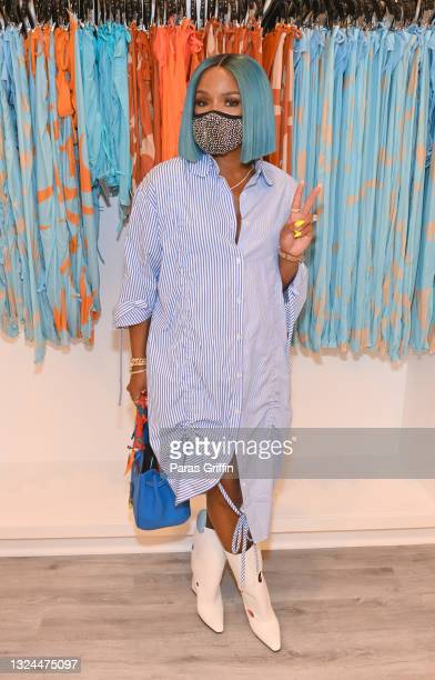 Personality Rasheeda Frost attends Saweetie x Matte Collection Launch at Matte Collection Store Phipps Plaza on June 19, 2021 in Atlanta, Georgia.