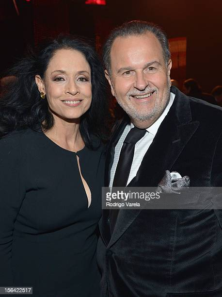 TV personality Raul De Molina and Actress Sonia Braga during the 2012 Person of the Year honoring Caetano Veloso at the MGM Grand Garden Arena on...