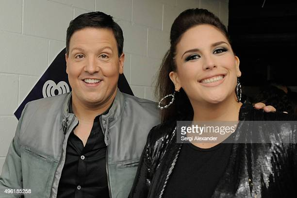 Personality Raul Gonzalez and Angelica Vale attend iHeartRadio Fiesta Latina presented by Sprint at American Airlines Arena on November 7 2015 in...