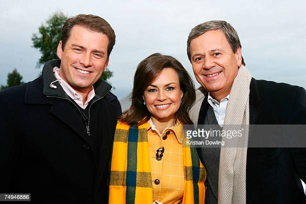 Personality Ray Martin poses with hosts Karl Stefanovic and Lisa Wilkinson offair as part of the Today Show 25th birthday celebrations at Federation...