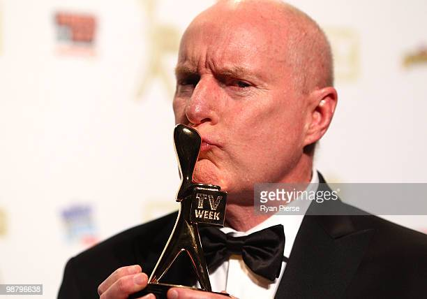TV personality Ray Meagher poses with the Gold Logie award in the 52nd TV Week Logie Awards room at Crown Casino on May 2 2010 in Melbourne Australia