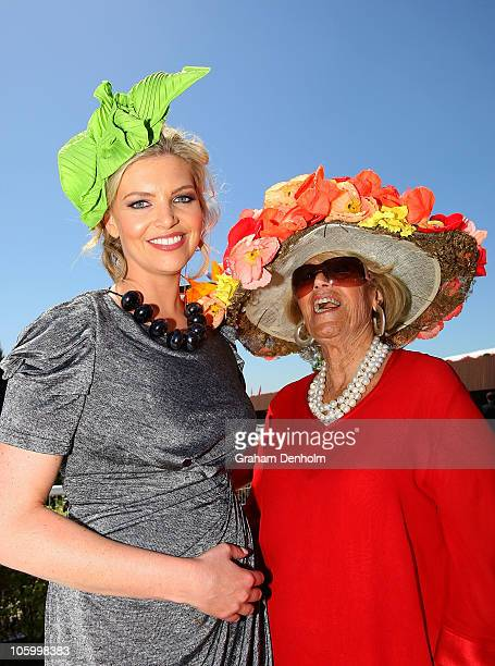 TV personality Rebecca Maddern and Lillian Frank pose during the 2010 Melbourne Cup Launch at Flemington Racecourse on October 25 2010 in Melbourne...