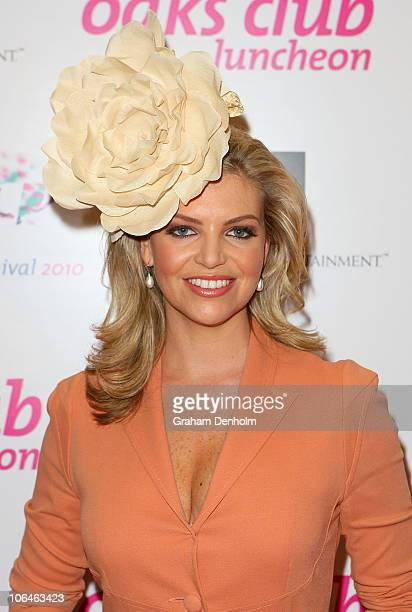 TV personality Rebecca Maddern arrives at the VRC Oaks Club luncheon ahead of Crown Oaks Day at the Crown Palladium on November 3 2010 in Melbourne...