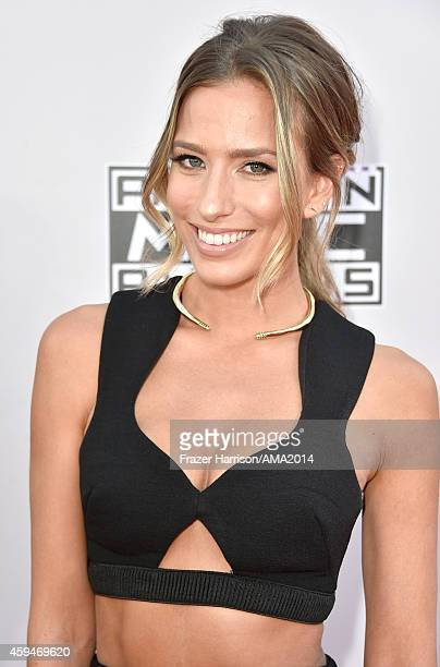 TV personality Renee Bargh attends the 2014 American Music Awards at Nokia Theatre LA Live on November 23 2014 in Los Angeles California