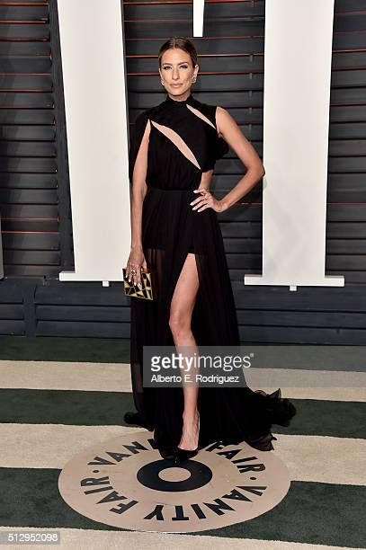 TV personality Renee Bargh attends the 2016 Vanity Fair Oscar Party hosted By Graydon Carter at Wallis Annenberg Center for the Performing Arts on...