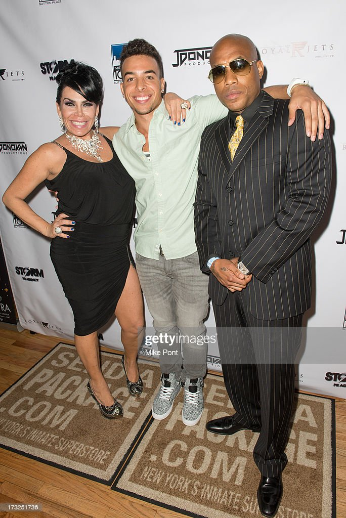 TV Personality Renee Graziano, Recording Artist Dash and Singer-Songwriter Mario Winans attend Renee Graziano's Celebrity Dinner Party at Midtown 1015 on July 10, 2013 in New York City.