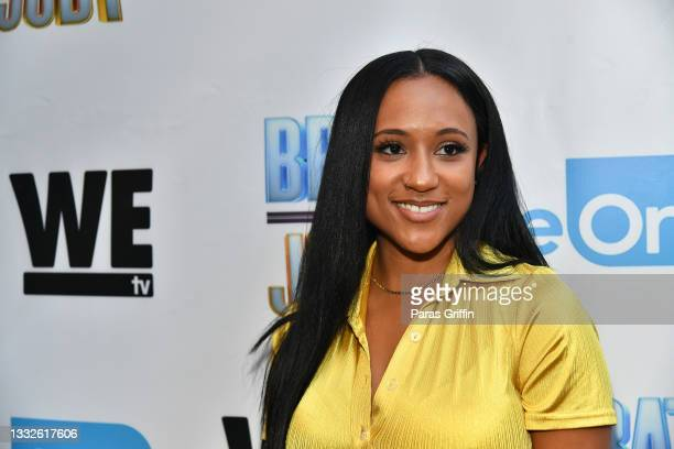 """Personality Rhonda Saunders attends """"Brat Loves Judy"""" WE tv watch party at Views Bar and Grill Atlanta on August 05, 2021 in Atlanta, Georgia."""