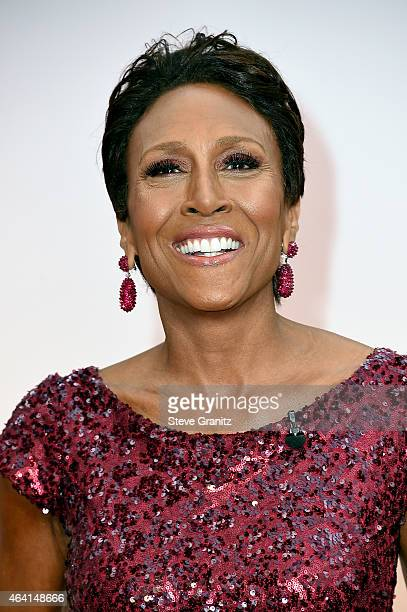 TV personality Robin Roberts attends the 87th Annual Academy Awards at Hollywood Highland Center on February 22 2015 in Hollywood California