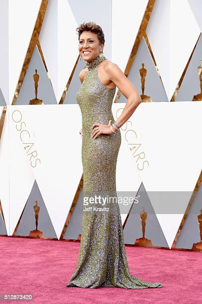 TV personality Robin Roberts attends the 88th Annual Academy Awards at Hollywood Highland Center on February 28 2016 in Hollywood California