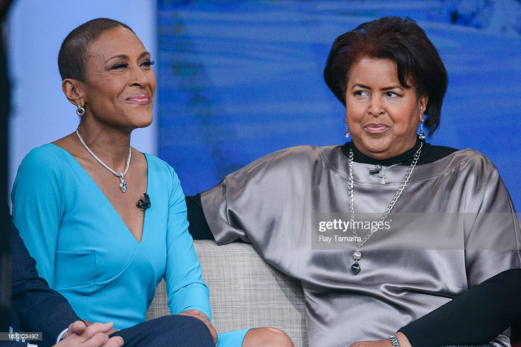 TV personality Robin Roberts interviews her sister Dorothy Roberts McEwen at the 'Good Morning America' taping at ABC Times Square Studios on February 20, 2013 in New York City. Robin Roberts returns to 'Good Morning America' after six month leave for life-saving bone marrow transplant.