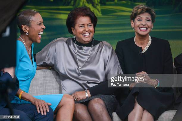 """Personality Robin Roberts interviews her sisters Dorothy Roberts McEwen and Sally-Ann Roberts at the """"Good Morning America"""" taping at ABC Times..."""