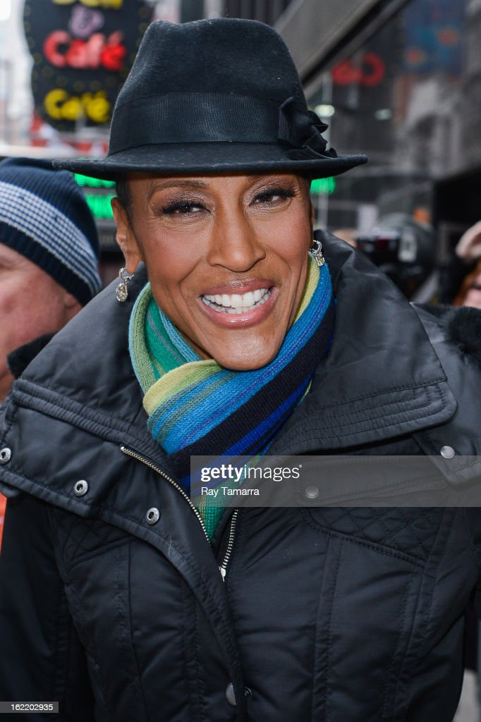 TV personality Robin Roberts leaves the 'Good Morning America' taping at ABC Times Square Studios on February 20, 2013 in New York City. Robin Roberts returns to 'Good Morning America' after six month leave for life-saving bone marrow transplant.