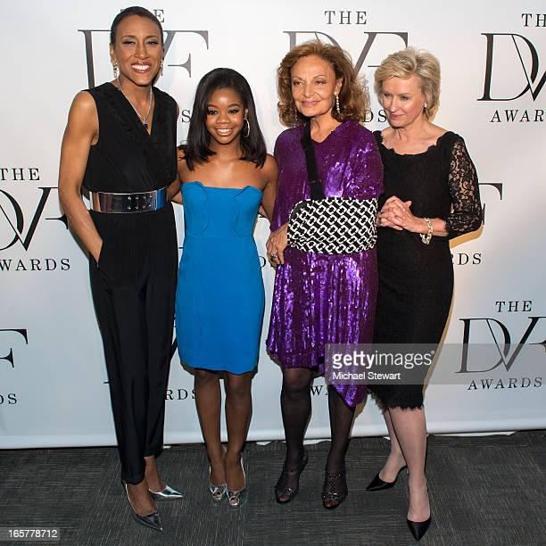 TV personality Robin Roberts US Olympian Gabrielle Douglas designer Diane Von Furstenberg and editorinchief of Newseek The Daily Beast Tina Browb...