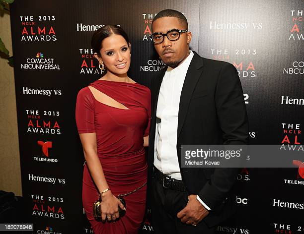 TV personality Rocsi Diaz and rapper Nas attend the Producer's post party during the 2013 NCLR ALMA Awards on September 27 2013 in Pasadena California